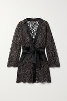 Thumbnail for your product : Coco de Mer Rivera Belted Corded Lace And Satin Robe - Black
