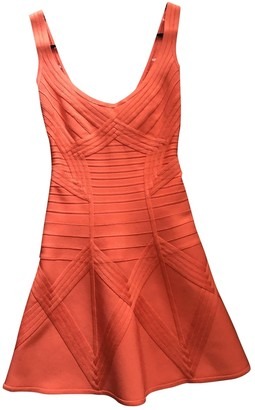 Herve Leger Orange Silk Dress for Women