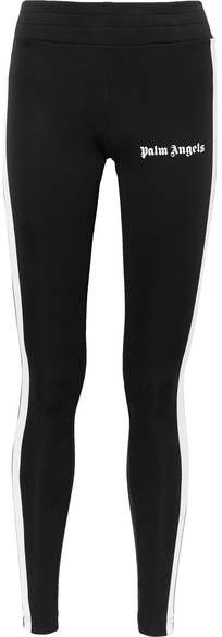 Palm Angels Rack Printed Striped Stretch-jersey Leggings - Black