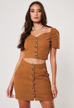 Missguided Co Ord Button Through Denim Crop Top