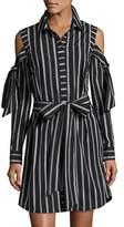 Milly Riley Cold-Shoulder Striped Cotton Shirtdress, Black