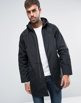 Farah Long Hooded Rain Jacket In Black