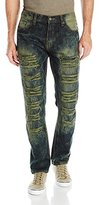 Southpole Men's Denim Pants Long Destructed Ripped and Repaired in Washed Colors