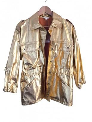 soeur Gold Cotton Trench Coat for Women