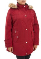 Gallery Woman Plus Size Red Water Repellent Washable Poly-Fill Raincoat Winter Coat