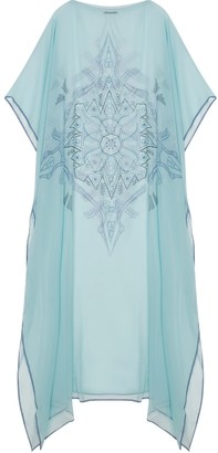 Gisy Vietnam Mandala Turquoise Silk Kaftan No.8