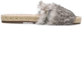 Solange rabbit fur sliders