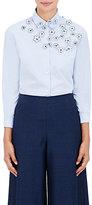 Jimi Roos Women's Flower-Appliquéd Cotton Shirt-Light Blue