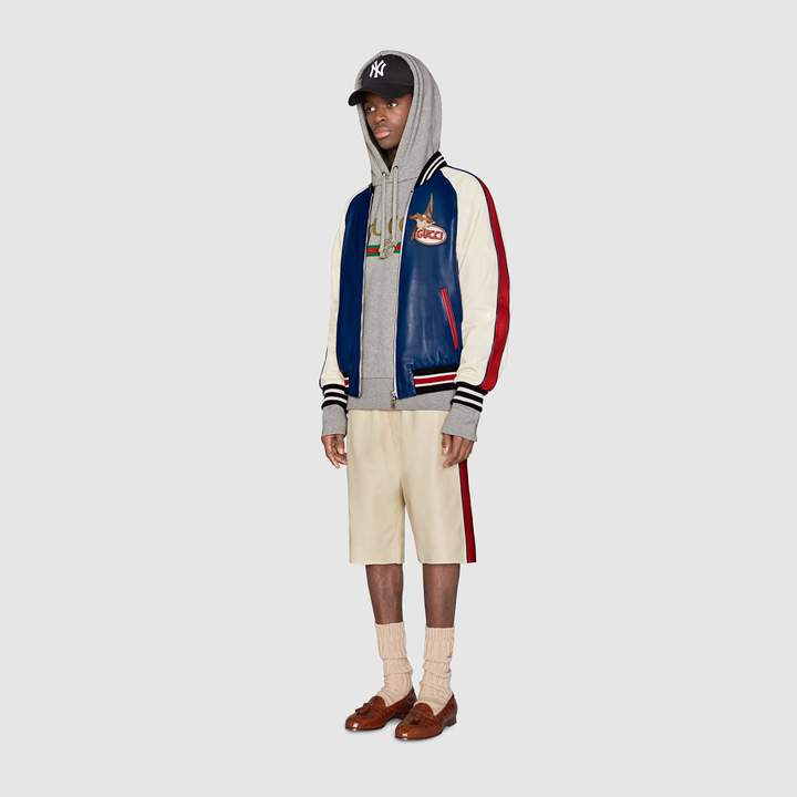 Gucci Leather bomber with pool and bird