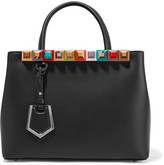 Fendi 2jours Petite Embellished Leather Shopper - Black