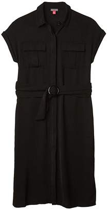 Vince Camuto Short Sleeve Rumple Twill Two-Pocket Belted Dress (Rich Black) Women's Clothing