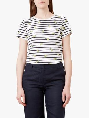 Hobbs Pixie Stripe Pineapple T-Shirt, Ivory/Navy