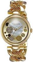 Akribos XXIV Women's AK643YG Lady Diamond Gold-Tone Dial Mesh and Chain Link Bracelet Watch
