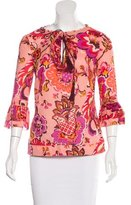 Tory Burch Floral Print Three-Quarter Sleeve Tunic