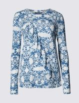 Marks and Spencer Paisley Floral Print Ruffle Jersey Top