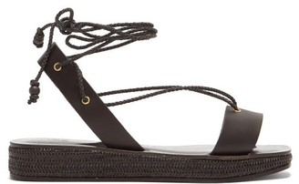Álvaro González X Thierry Colson Tolga Leather Flatform Sandals - Black