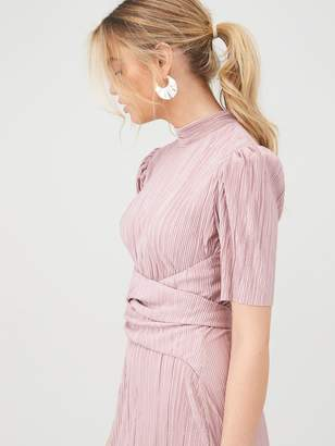 Very Plisse Tie Front Midi Dress - Blush