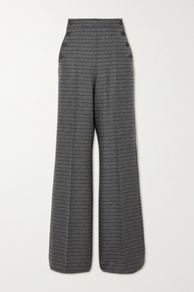 Max Mara Arancio Striped Wool And Cashmere-blend Wide-leg Pants - Gray
