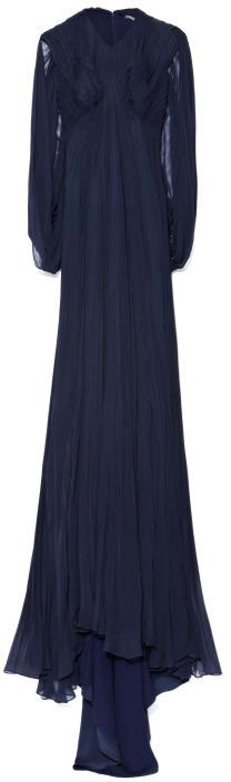 Zac Posen Preorder Plisse Chiffon Cape Gown