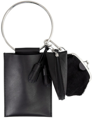 Y's Ys Black Leather Ring Keychain