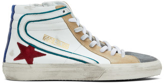 Golden Goose White and Green Slide High-Top Sneakers