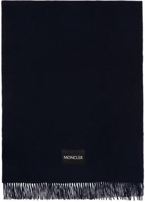 Moncler Navy Large Wool Scarf
