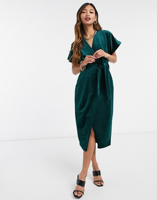 Closet London kimono sleeve velvet midi dress with wrap tie in emerald green