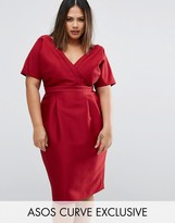 Asos Wiggle Dress With Wrap Front And Seam Detail