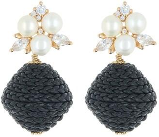 Akola Eve Crystal Cluster & Cultured Pearl Braided Leather Bead Drop Earrings