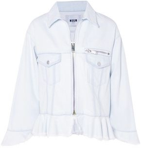 MSGM Frayed Denim Peplum Jacket