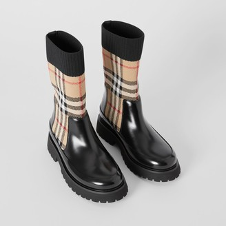 Burberry Childrens Vintage Check Knit Sock Leather Chelsea Boots