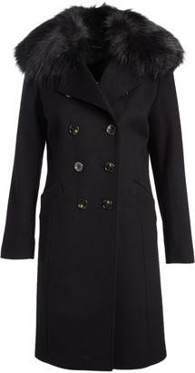 Tahari Women's Car Coats CHARCOAL - Charcoal Faux Fur Collar Double Breasted Coat - Women