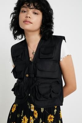 Urban Renewal Vintage Salvaged Deadstock Black Utility Gilet - black S at Urban Outfitters
