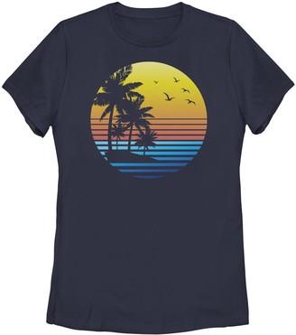 Juniors' Palm Tree Sunset Silhouette Graphic Tee
