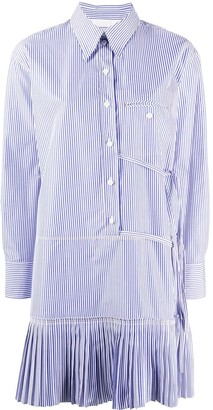 Chloé Pleated Hem Striped Shirt Dress