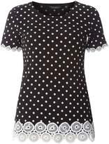 Black Polka Dot Lace Trim T-Shirt