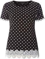 Dorothy Perkins Black Polka Dot Lace Trim T-Shirt