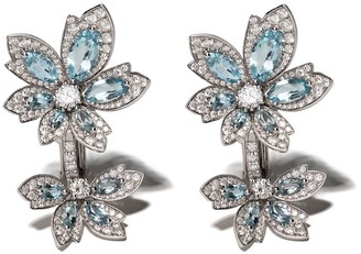 David Morris 18kt white gold Palm Double Flower Aquamarine earrings