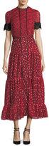 Saloni Andie High-Neck Short-Sleeve Floral-Print Long Dress