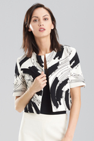 Josie Natori Double Knit Jersey Embroidered Bolero