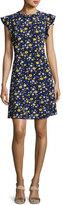 MICHAEL Michael Kors Verbena Flounce-Sleeve Dress, Yellow/Blue/White