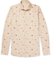 Incotex Ween Slim-fit Floral-print Cotton And Wool-blend Shirt - Cream