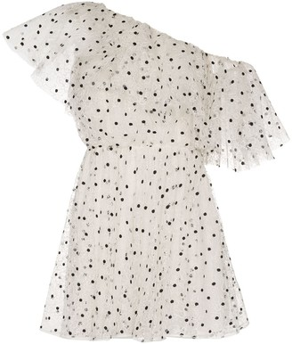 Giambattista Valli One-Shoulder Polka-Dot Mini Dress