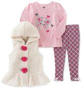 Kids Headquarters 3-Pc. Faux-Fur Vest, T-Shirt & Leggings Set, Toddler Girls (2T-5T) & Little Girls (2-6X)