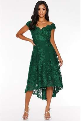 Quiz Petite Bottle Green Lace Embroidered Bardot Dip Hem Dress