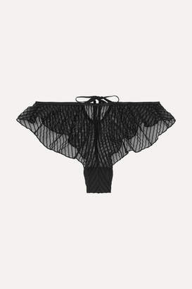 Le Petit Trou - Fidelite Ruffled Glittered Flocked Stretch-tulle Briefs - Black