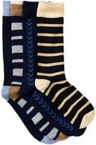 Lucky Brand Texture Stripe Crew Socks - Pack of 4
