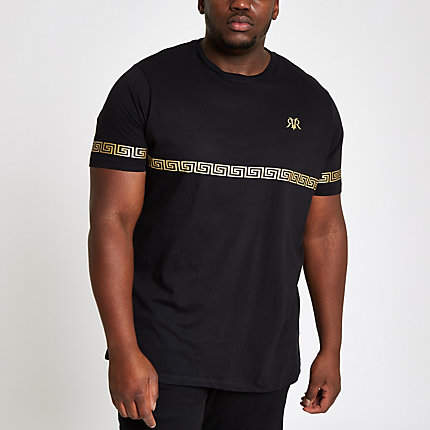 River Island Mens Big and Tall Black gold foil slim fit T-shirt