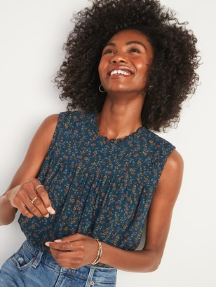 Old Navy Ruffled High-Neck Floral-Print Sleeveless Top for Women