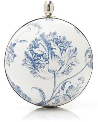 Oscar de la Renta Billiard Floral-Print Leather Clutch